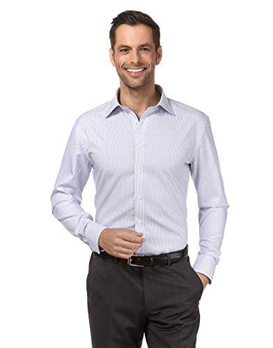 Vincenzo Boretti Herren-Hemd bügelfrei 100% Baumwolle Regular-fit Gemustert New-Kent Kragen - Männer lang-arm Hemden für Anzug Krawatte Business Freizeit weiß 39/40 Business-krawatte