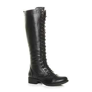 Ajvani Womens Ladies Flat Low Block Heel lace up Zip Calf Biker Military Boot Size 5 38 Black
