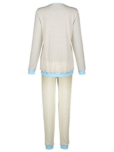 Damen Schlafanzug im garngefärbtem Ringeldessin by Simone ecru meliert/bleu
