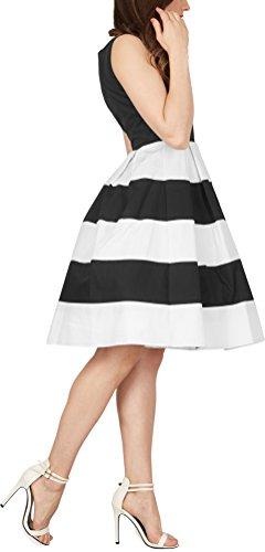 BlackButterfly 'Lilly' Vintage Gestreift Kleid im 50er-Jahre-Stil (Schwarz, EUR 48 - 3XL) -