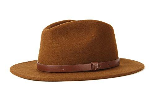 Brixton Messer Fedora Hat, Kaffee Braun, 60 cm - Leder-motorrad-mütze