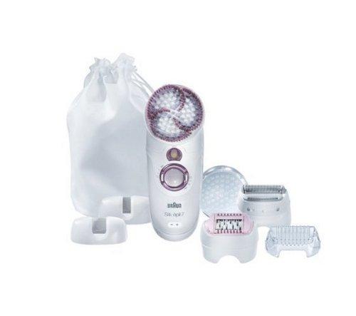 Braun Silk-épil 7 SkinSpa 7951 Epilierer (Epilator mit Peeling-Bürste, Epiliergerät und Peeling trocken und nass einsetzbar (Wet und Dry)) weiß/grau