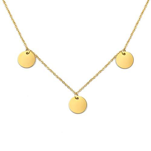 LUAMAYA Damen Boho Halskette | Verschiedene Edelstahl Ketten in Gold, Silber und Roségold | Globus, Coins, Plättchen, Layer, Weltkugel, Coins (Tres Gold)