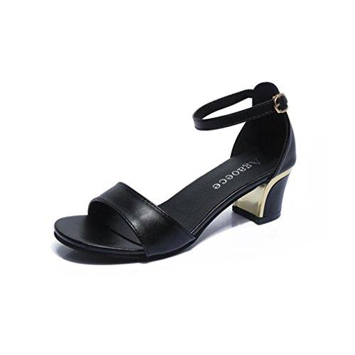 Sandalen Damen Sommer Elegante Mumuj Mode Holiday Festliche Strandschuhe Spitz High Heels Boot Sandaletten Hochzeit Partyschuhe Blockabsatz Hausschuhe Mokassins (41, Schwarz)