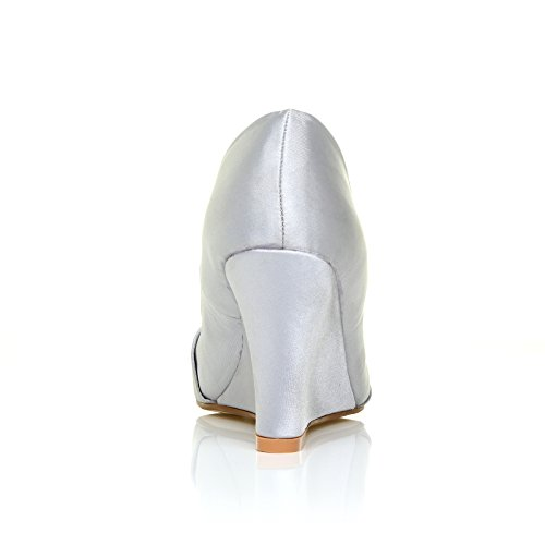 ShuWish UK - Chaussure Femme EDEN Talon Haut Compensé Décolleté Mariée Satin - Argent Satin Argent