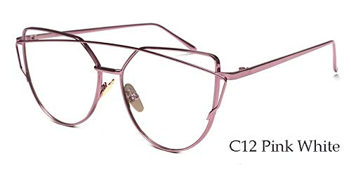 Sonnenbrille,Neuen Leichten Cat Eye Sonnenbrille Frauen Retro Sonnenbrille Metallrahmen Getönte Linse Eyewear Rose Gold Rahmen Transparent Spiegel
