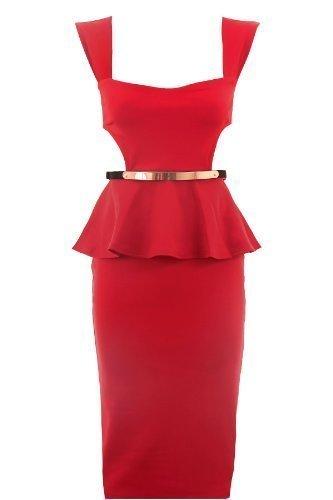 Fantasia Boutique Damen mit Gürtel seitlich ausgeschnitten knielang ärmellos Schößchen Damen Kleid - Fuchsia, 42 (Ausgeschnitten Schößchen-kleid)