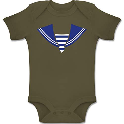 Shirtracer Karneval und Fasching Baby - Matrose Kostüm Kragen - 1-3 Monate - Olivgrün - BZ10 - Baby Body Kurzarm Jungen - Marine Matrosen Kostüm Strampler