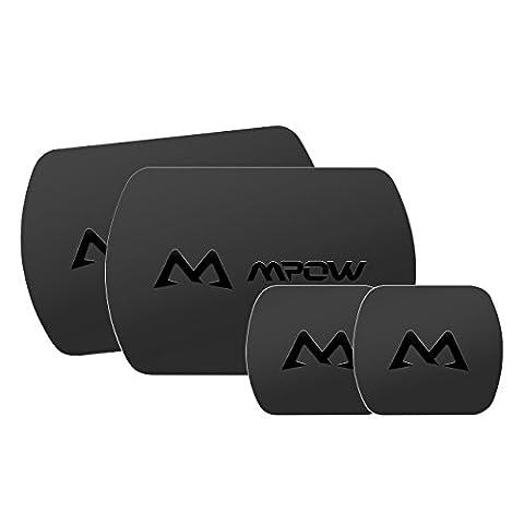 Mpow Ensemble de Plaque Métallique 4 Pack de Remplacement Universel avec Adhésif 3M pour Support de Téléphone Cellulaire Magnétique, 2 Grands et 2 Petits--Noirs