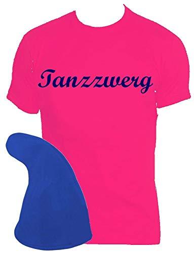 Coole-Fun-T-Shirts ZWERGEN Kostüm Set Tanzzwerg T-Shirt + Zwergenmütze pink-blau - Blaues T Shirt Für Erwachsene Kostüm