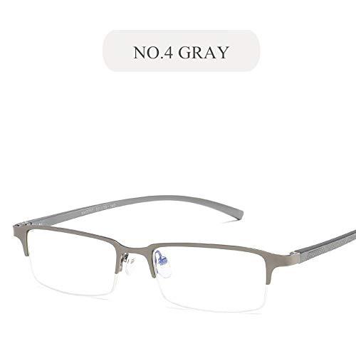 YMTP Anti Blaues Licht Gläser Rahmen Männer Business Brillen Aluminium Magnesium Metall Blau Film Flache Spiegel Brillenfassungen, No4 Grau