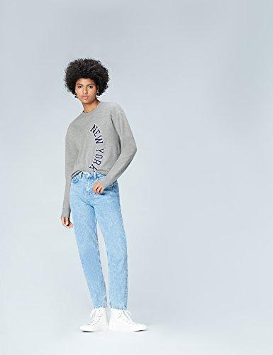 FIND Damen Sweatshirt mit New York Print Grau (Greymarl)
