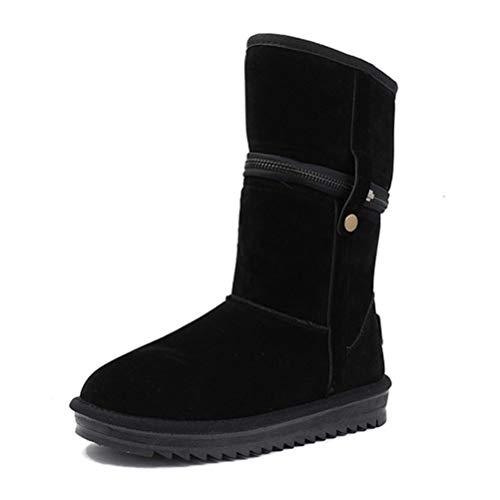 nterstiefel Damen Winterstiefel Stiefeletten Winter Schuhe Komfort wasserdicht Mitte Kalb Stiefel ()
