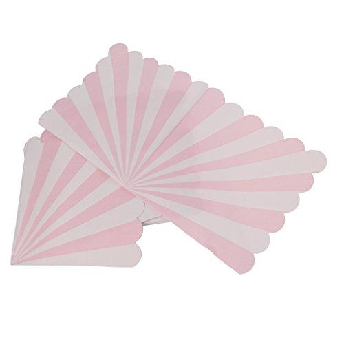 MagiDeal Servietten Papierservietten Streifen Tischdeko Besteck Set/20pcs - Rosa -