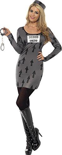 Smiffy's - Sträflingskostüm Kostüm sexy Häftling Kleid für Damen Sträfling Knacki