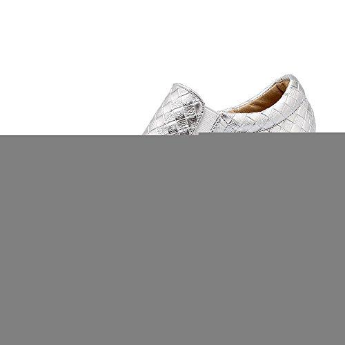 VogueZone009 Femme Élastique Rond Fermeture D'Orteil à Talon Haut Pu Cuir Couleur Unie Chaussures Légeres Argent
