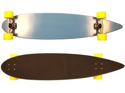 Moose Longboard Komplettboard Skateboard Pintail Light Blue/Yellow Wheels 43 x 9 inch