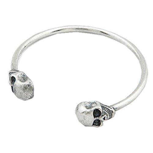 Unisex Sterling Silver Plated Punk Double Skull Head Cuff Open Adjustable Bracelet,65MM