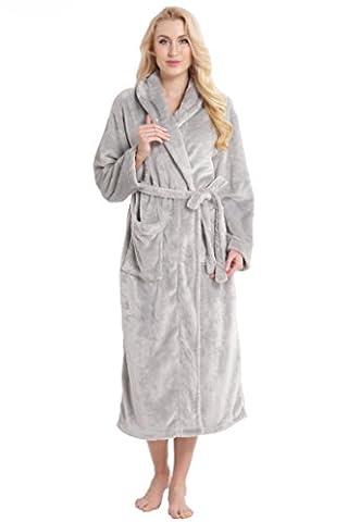 Aibrou pyjama femme polaire Robe chambre homme longue Hiver sortie de bain peignoir pas cher personnalisé Gris clair