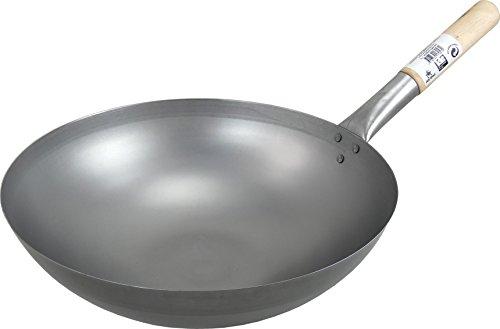 Wok, Asiatische Eisenpfanne, Küchen Wok Ø 35 cm mit runder Boden, Holzgriff