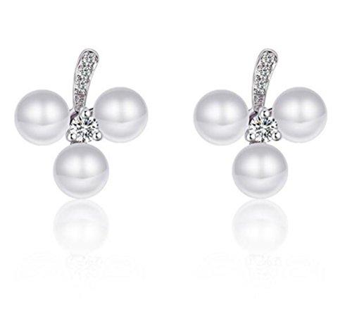 Addfect Ohrringe Damen Frauen 925er Sterling Versilbert Hypoallergen Diamant Pearl Schneemann Hell Einfach Elegant Süß Bester Verkauf (Einfache Schneemänner)