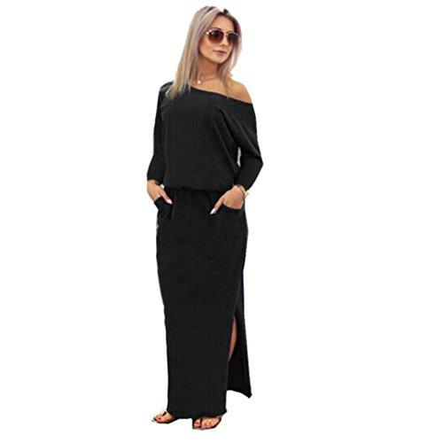 Yanhoo Frauen Sommer Lange Maxi Boho Abendgesellschaft Kleid mit Tasche Abend Party Kleid Strand häkeln Vintage Floral Bodycon Sleeveless beiläufiges Abend Partei Abschlussball Schwingen (M, Marine) -