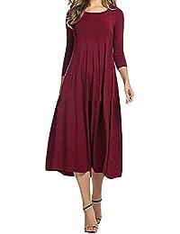 bf6ec2d9f33 Lejorce Femmes Manches 3 4 col Rond Solide Taille Empire plissé Longue Robe  Bleue US