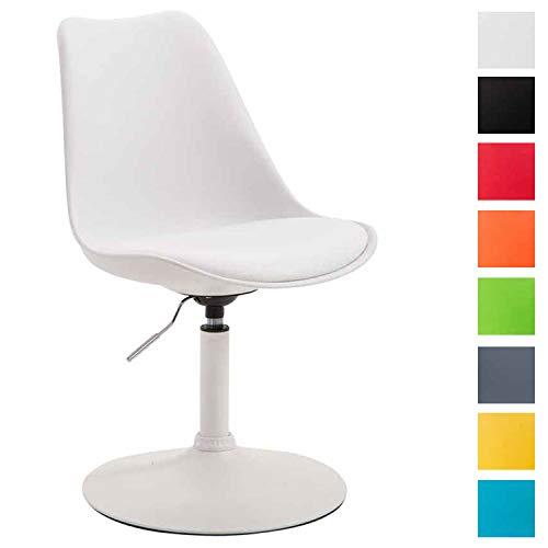CLP Esszimmerstuhl Maverick Kunststoff I höhenverstellbarer Lehnstuhl I Drehstuhl mit Trompetenfuß I Sitzhöhe von ca. 43-48 cm Weiß, weiß - Weiß Stuhl Schreibtisch Armlehnen Ohne