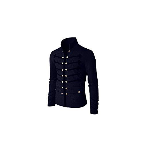 Blusa de Hombre BaZhaHei Hombre Manga Larga Escudo de los Hombres Chaqueta gótica botón de Bordar Abrigo Uniforme Traje Praty Outwear Camisetas con botón Bordada Color sólido Casual de los Hombres