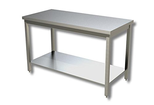 fimel- Table à jour sans Présentoir à gâteaux en acier inoxydable AISI 304/18/10Scoth Brite dimensions L.1600x P.700x H.850mm.