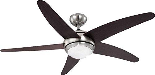 Deckenventilator mit Licht Fernbedienung 3 Stufen Beleuchtung (Deckenbeleuchtung mit Ventilator, Deckenleuchte 1 flammig, Deckenlampe, 132 cm, 1 x 80 Watt, Warmweiß) (Licht Glas-ventilator N/a)