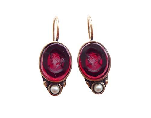 Rote Gemmen-Ohrringe Ohrhänger kleine ovale Glas-Gemme Süßwasser-Perle Haken verschließbar...