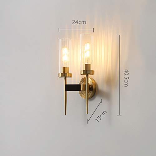 YangMi Wandlampe- Amerikanische Kupfer-Wandlampe, einfacher Spiegel-Scheinwerfer, Wohnzimmer-Wandlampe, Retro Schlafzimmer-Nachttischlampe (Farbe : Messing, größe : 24x40.5cm)