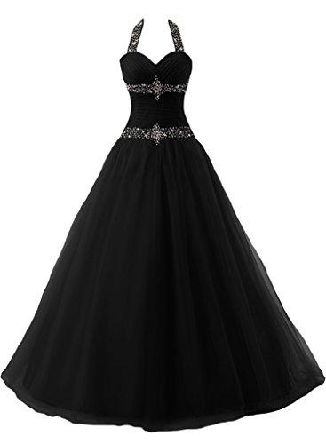 ivyd ressing robe dos nu avec pierres ligne Duchesse préférée Prom Long Lave-vaisselle robe robe du soir Noir - Noir