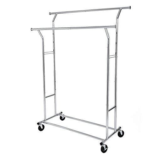 SONGMICS Schwerlast Kleiderständer aus Metall, bis 110 kg belastbar, Garderobenständer auf Rädern, Länge 129-169 cm, Verchromt HSR12S -