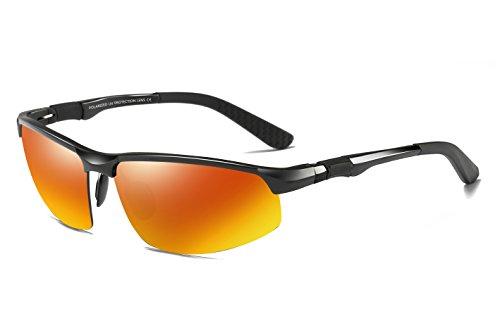 WHCREAT Herren Fahren Polarisierte Sonnenbrille Outdoor Sport Brillen Unzerbrechlich AL-MG Rahmen - Schwarz Rahmen Rot Linse
