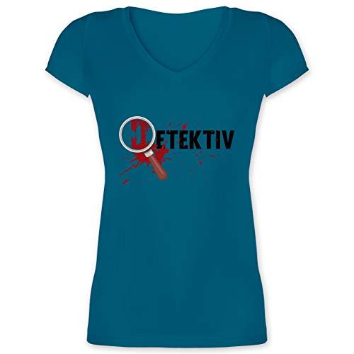 Karneval & Fasching - Detektiv Karneval Kostüm - L - Türkis - XO1525 - Damen T-Shirt mit V-Ausschnitt