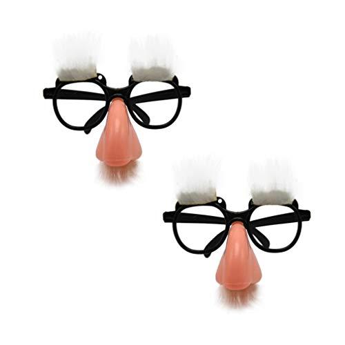Amosfun 2 Stück Halloween Party Brille Lustige Verkleidung Brille mit großer Fake Nase Augenbrauen Kostüm Augenbrauen für Erwachsene Kinder Halloween Party - Weiße Augenbrauen Kostüm