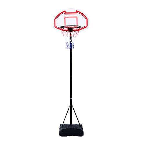 HOMCOM Canasta de Baloncesto Plegable Altura Ajustable 165-210cm Basket Red y Tablero