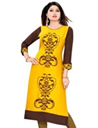 PLUS SIZE Printed Yellow Rayon Kurtis For Women & Girls Clothing Kurti For Women Latest Designer Wear Kurti Collection...