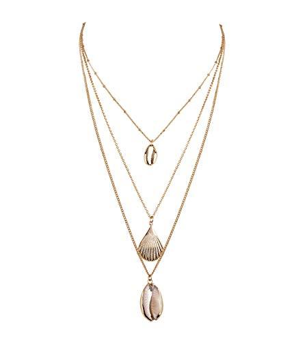SIX Damen Halskette im Layering Look, DREI Ketten mit Anhägern, im maritimen Look mit verschiedenen Muscheln, Gliederkette in Gold ()