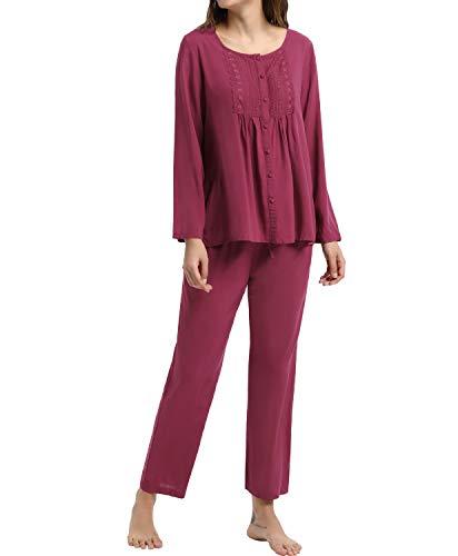 Damen Langarm Pyjama Set Floral Pjs Button Nachtwäsche Schlafanzug Weinrot M -