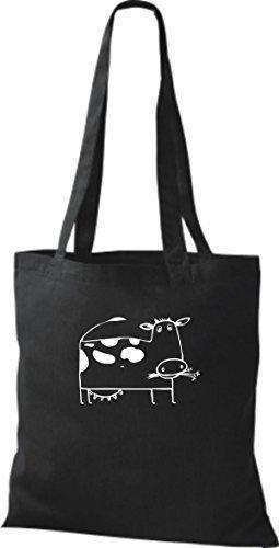 ShirtInStyle Stoffbeutel Baumwolltasche Lustige Tiere Kuh Bulle Farbe Limegrren schwarz