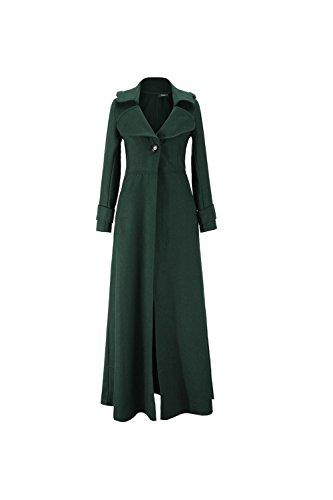 Les Femmes L'hiver Chaud Maxi Woolen Garnis Trenchcoat Outercoats Élégants Vêtements green