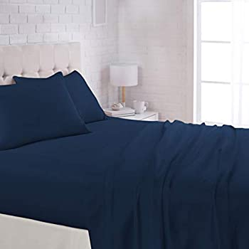 AmazonBasics Microfiber Sheet Set - (Includes 1 bedsheet, 1 Fitted Sheet with Elastic, 2 Pillow Covers) King, Navy Blue