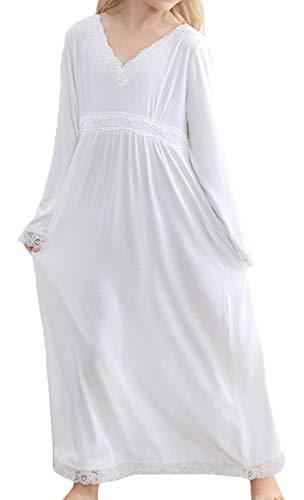 Scothen Spitze Nachthemd Mädchen Prinzessin Langärmelig Baumwolle Mädchen Kurzarm Kinder Schlafanzüge Pyjama Schlafkleid Prinzessin Nachtkleid für 3-12 Jahre