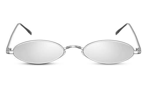 Cheapass Sonnenbrille Oval Klein Silber John-Lennon UV-400 Metall Damen Frauen