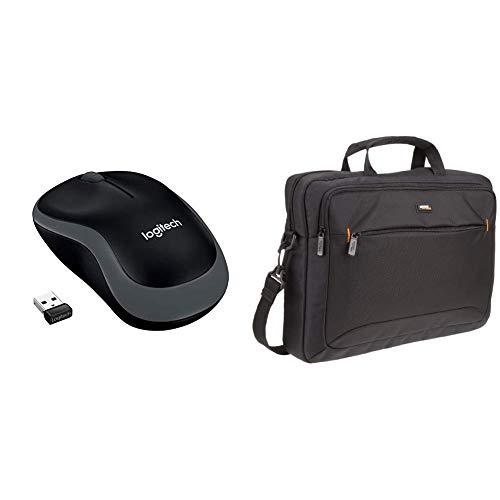 LOGITECH Wireless Mouse M185 Swift Grey WER Occident Packaging & AmazonBasics Tasche für Laptop/Tablet mit Bildschirmdiagonale 15,6Zoll/39,6cm - Mouse Wireless Logitech M185