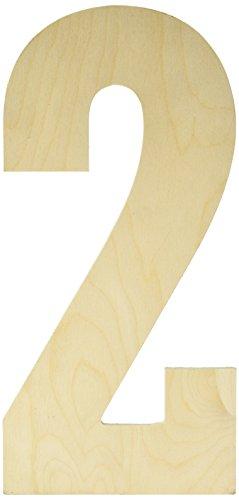 Buchstaben- und Zahlenbuchstaben aus baltischer Birke, 33 cm, 2 Stück -