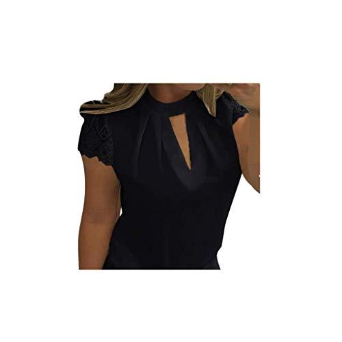 JUTOO Frauen Casual Chiffon Kurzarm Splice Lace Crop Top Bluse(Schwarz, EU:48/CN:XXXXL)